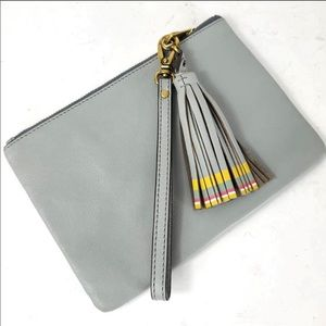 Fossil 100% Leather Gray Wristlet with Tassel